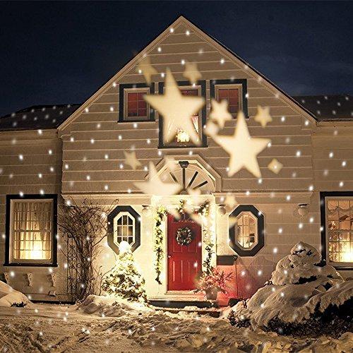 SMITHROAD IP67 LED Projektionslampe Sterne Muster Strahler für Weihnachten Innen und Außen Garten Beleuchtung,Warmweiß