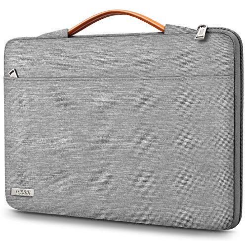 TECOOL Funda Ordenador Portátil para 14 Pulgadas HP/Lenovo/DELL/Acer/ASUS Notebook Chromebook, 15 Surface Laptop 3, 2016-2019 MacBook Pro 15 Bolsa Blanda con Manija Retráctil, Gris