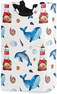DOMIKING Panier à linge pliable pour chambre d'enfant avec poignée Motif baleine, dauphin, phare, etc.