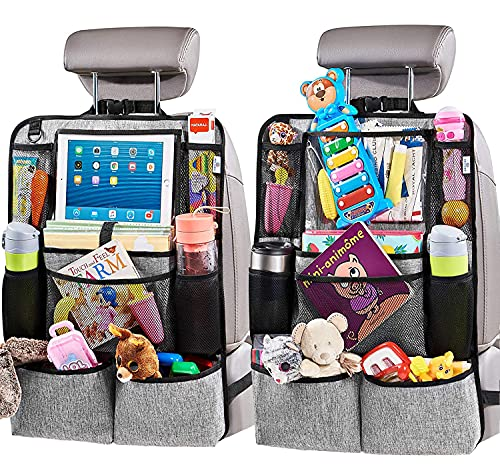 H Helteko Backseat Car Organizer, Kick Mats Back Seat Protector with Touch Screen Tablet Holder, Car...