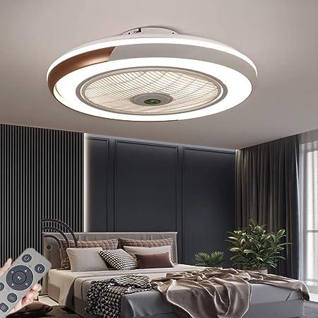 HYKISS LED Ventilateur De Plafond Dimmable Invisible Plafonnier Ventilateur Moderne Vitesse du Vent Réglable Ventilateur De Luminaires pour Salon Restaurant Chambre Éclairage Fan Lampe Ø50CM,d'or