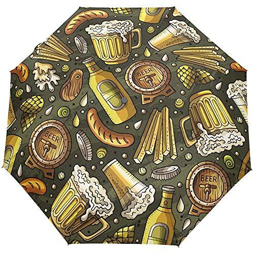 Sommer Bier Print 3 Falten automatische Öffnen Schließen Sonnenschirm Sun Rain Anti-UV-Regenschirm