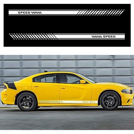 Für Aygo Auto Seite Karosserie Autoaufkleber Wetterfest Streifen Aufkleber Racing Seite Auto Tattoo Karosserie Deco 130 9cm Weiß Auto