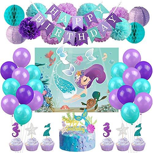 Kreatwow Meerjungfrau Party Dekorationen Supplies Favor Spiele Kit Meerjungfrau Party Spiele Kuchen Toppers Ballons für Meerjungfrau Geburtstag Baby Shower Under The Sea Party Supplies