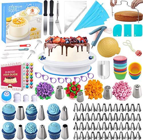 Nifogo 301PCS Kit de Pâtisserie Plateau Tournant de Gâteau Professionnel avec Glaçage, Déco, Poches, Douilles, Spatules et Cornes etc