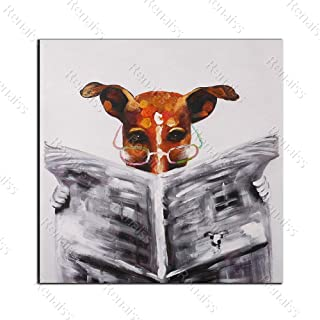 Renaiss 16x16 Inches Cartoon Animal Oil Painting a Dog is Reading Newspaper Art Canvas Prints House Wall Decor Hallway Coffee Bedroom Kitchen Artworks Frameless Rolled Package