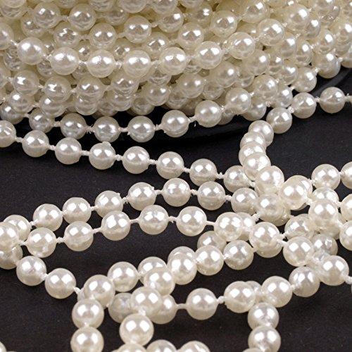 Schnoschi 2m Perlen Creme 5mm Perlenband Perlenkette Perlengirlande Perlenschnur Weihnachten Advent Hochzeit Deko Tischdeko Meterware