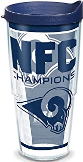 Tervis 1324928 NFL Los Angeles Rams NFC Champion Insulated Tumbler with Lid, 24 oz, Clear