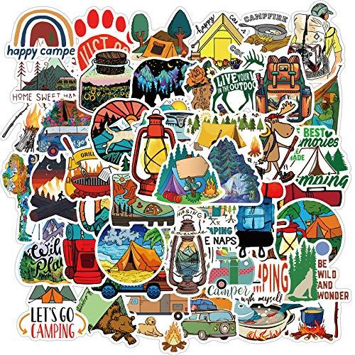 PRETTYSUNSHINE Sticker Set 50 Stück, Vintage Reise Aufkleber Outdoor Abenteuer Sticker für Auto Fahrrad Koffer Helm Laptop Skateboard Motorrad Graffiti Stickerbomb Wasserfest