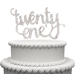 Hatcher lee Twenty One Cake Topper for 21 Years Birthday Or 21ST Wedding Anniversary Silver Crystal Rhinestone Party Decoration Silver