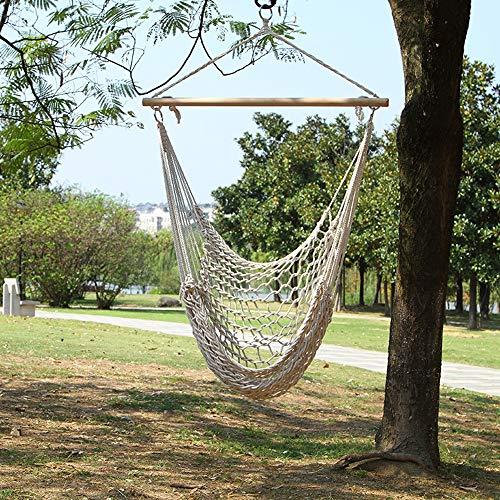 KLFD - Silla colgante de jardín grande, hamaca suspendida de algodón, portátil, sillón suspendido para interiores y exteriores, capacidad 160 kg