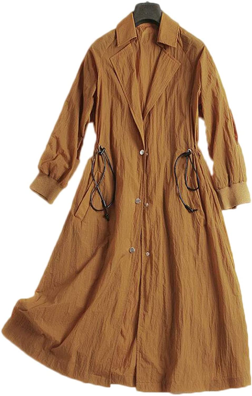Women's windbreaker fashion solid color drawstring loose lantern sleeves long trench coat