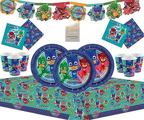 PJ Masks 50 Piezas de Juegos de vajilla de Fiesta de cumpleaños para niños Que Incluyen Banner de Carton, Platos, Tazas, servilletas y manteles - para 16