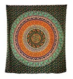Aga's Own Indische Mandala Tagesdecke, Wandtuch, Tagesdecke Mandala Druck - 100prozent Baumwolle, 210x240 cm, Bettüberwurf, Sofa Überwurf (Muster 09)