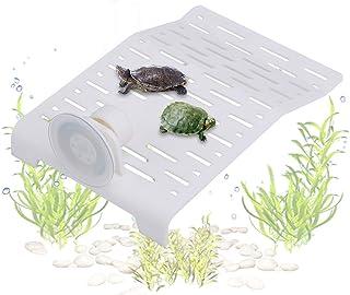 Fdit Tortoise Terraza Acuario Peces Tank Tortuga Techo Plataforma Zapatillas Diseño con Ventosa Blanco