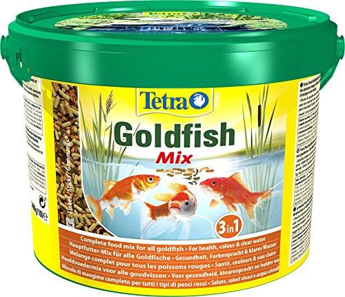 Tetra Pond Goldfish Mix – Mélange Complet de Sticks, Flocons, Gammarus - Aliment pour Poissons Rouges de Bassin et de Jardin - Enrichis en Oligo-éléments, Vitamines essentiels, Spiruline – 10 L