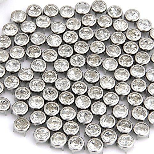 100x 7mm Metall Strass Nieten Silver Ziernieten Rundnieten Strassnieten