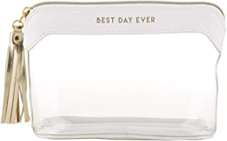 Best Day Ever Clear Wedding Makeup Toiletry Bag with White and Gold-Toned Accents, 6 1/4 Inch