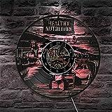 CXM WLONG 'ART Reloj de Pared de nutrición Saludable Decoración de Vida Saludable Recetas de comestibles Logo LED Letrero de luz Vinilo LP Reloj de Pared Reloj de Pared con luz Nocturna LED