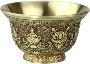 sleeri Buddhist Water Offering Bowl - Carved Brass Water Offering Cup, Tibetan Meditation Altar Buddhist Offering Bowl for...