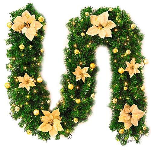 Wenyun, Ghirlanda Di Natale Decorata Per La Casa, In PVC, Per Interni Ed Esterni, 2,7 M, Colore: Rosa, Oro, 25*270CM