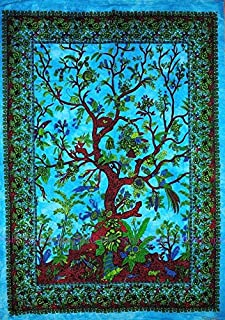 Jaipur Handloom Exclusive Turquoise Boho Tree of Life Tapestry Tie and Dye Blue Dorm Tapestry, Hippie Gypsy Wall Hanging New Age Dorm Tapestry