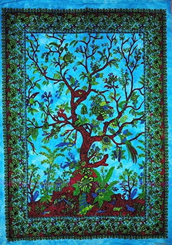 Exclusive 'Turquoise Boho Tree of Life Tapestry by Jaipur Handloom' Tie and Dye Blue Dorm Tapestry, Hippie Gypsy Wall Hanging New Age Dorm Tapestry