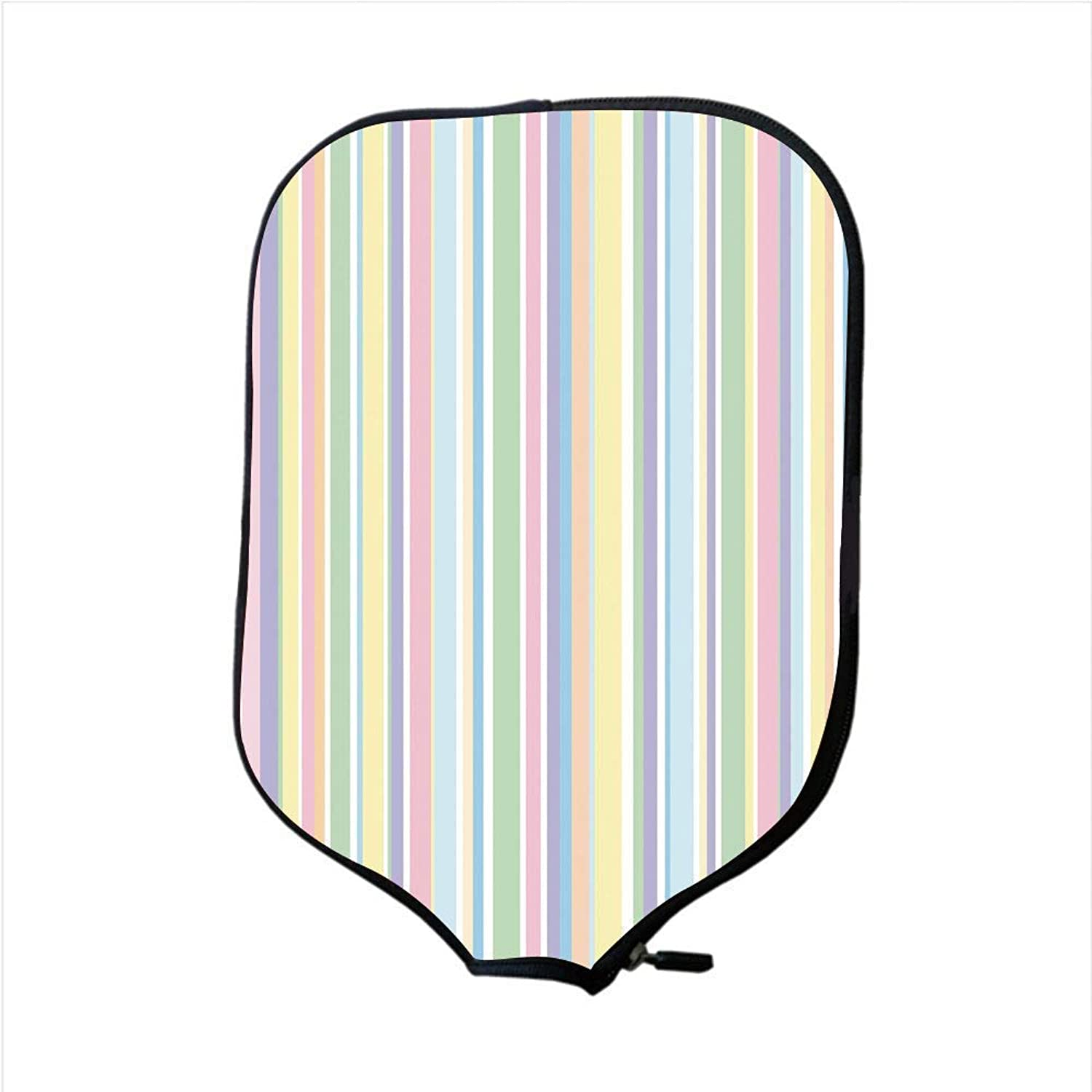Fine Neoprene Pickleball Paddle Racket Cover Case,Pastel,greenically Striped Pattern Different colord Straight Lines Classical Old Fashioned,Multicolor,Fit for Most Rackets