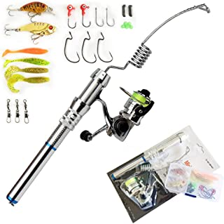 Emmrod Portable Ultra Small Mini Stainless Steel Elastic Fishing Rod and Reel Combos, Aluminum Alloy Handle Fishing Pole w...