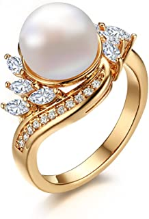 18K Gold Plated Copper Cubic Zirconia Man-Made Pearl Ring for Engagement Wedding, Size 6-8