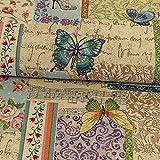 Gobelin Stoff Schmetterlinge & Blumen bunt Dekostoffe