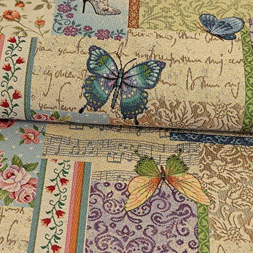 Gobelin Stoff Schmetterlinge & Blumen bunt Dekostoffe Innenraum-Ausstattungen Accessoires - Preis gilt für 0,5 Meter