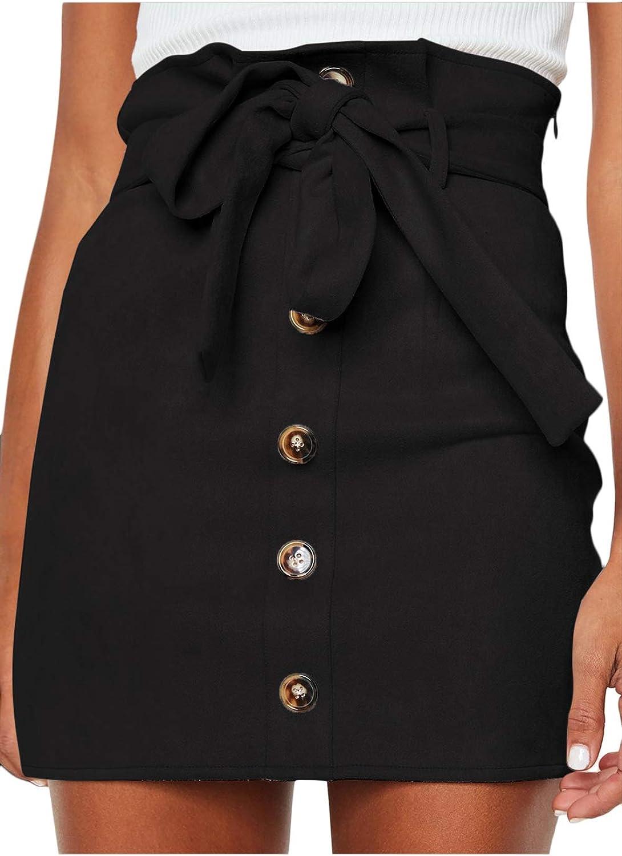 Meyeeka Women's Paperbag High Waist Button Trim Front Belted Faux Suede Mini Skirt