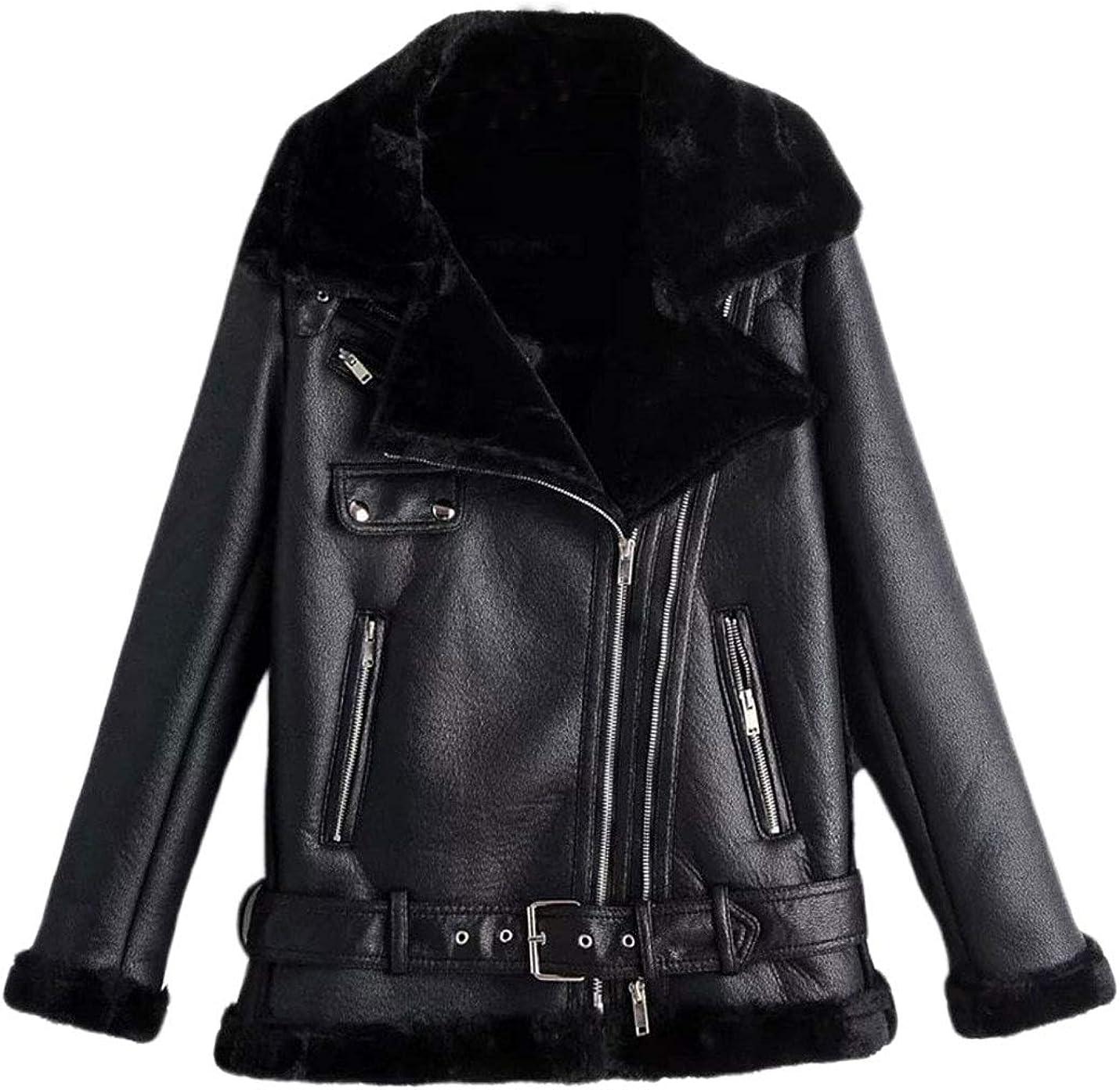 Lentta Womens Casual Slim Fleece Lined Faux PU Leather Lapel Trucker Moto Jackets
