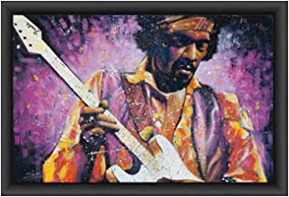 ImpactInt Jimi Hendrix by Stephen Fishwick 27x39 Inch Framed Textured Print Poster with Artist Gel for Oil Like Finish