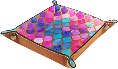 Lyetny Colorful Fish Mermaid Scale Organizer Tray Storage Box Bedside Caddy Desktop Tray Change Key Wallet Coin Box Tray Stor