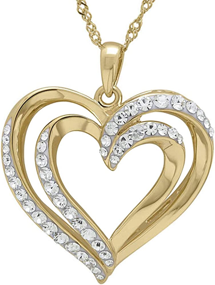 DTJEWELS 14K Yellow Ranking TOP6 Gold Plated 1 Sim Double CTW Diamond 5 Quantity limited Clear