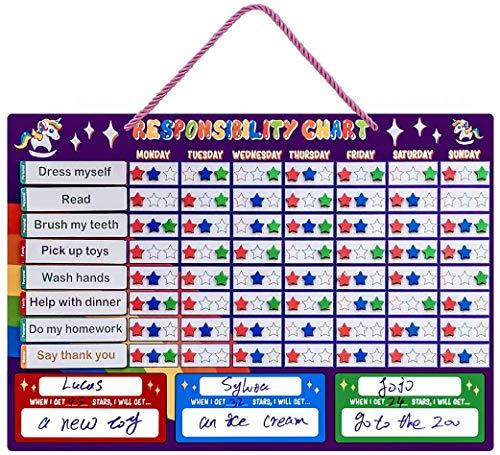 Magnetic Chore Chart, Responsibility Reward Chart for Multiple Kids Toddlers Unicorn Good Behavior Reward Chart for Fridge at Home Gift for Children - Dry Erasable, Purple