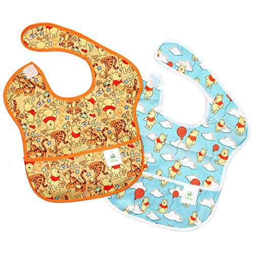 Bumkins Disney Winnie The Pooh SuperBib, Baby Bib, Waterproof, Washable, Stain and Odor Resistant, 6-24 Months (Pack of 2) - Woods/Balloon
