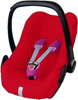 ByBoom® - Funda de verano / funda hecha de 100% algodón, funda universal para portabebés (Moisés), asiento de coche, por ejemplo, Maxi-Cosi CabrioFix, Pebble, City SPS, Color:Rojo