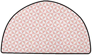 Rug Bathroom Mat Pale Pink,Bicolor Triangles Pattern in Pastel Colors and Geometrical Design Mosaic Grid, Blush White,W47 x L31 Half Round Carpet Flooring