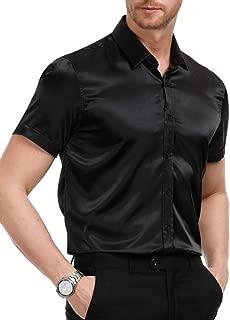PJ PAUL JONES Men's Solid Color Shiny Satin Silk Like Dance Prom Dress Shirt