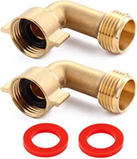 Litorange (2 Pack Industrial Garden Hose Elbow Connector 90 Degree Brass Hose Elbow Fitting Quick Swivel Connect Adapter Thread Size 3/4
