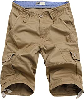 Men's Casual Twill Cotton Loose Fit Multi Pocket Cargo Shorts