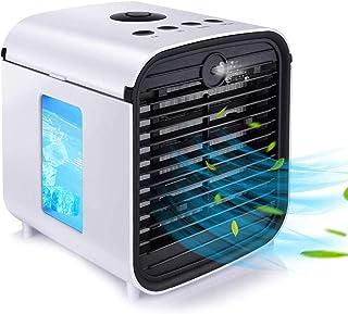Mini Acondicionador de Aire Móvil Aire Acondicionado Portátil Climatizador Evaporativo Ventilador, Máquina de Aromaterapia 3 Velocidades 7 Luces LED de Color para Tienda de Campaña/Oficina/Familia