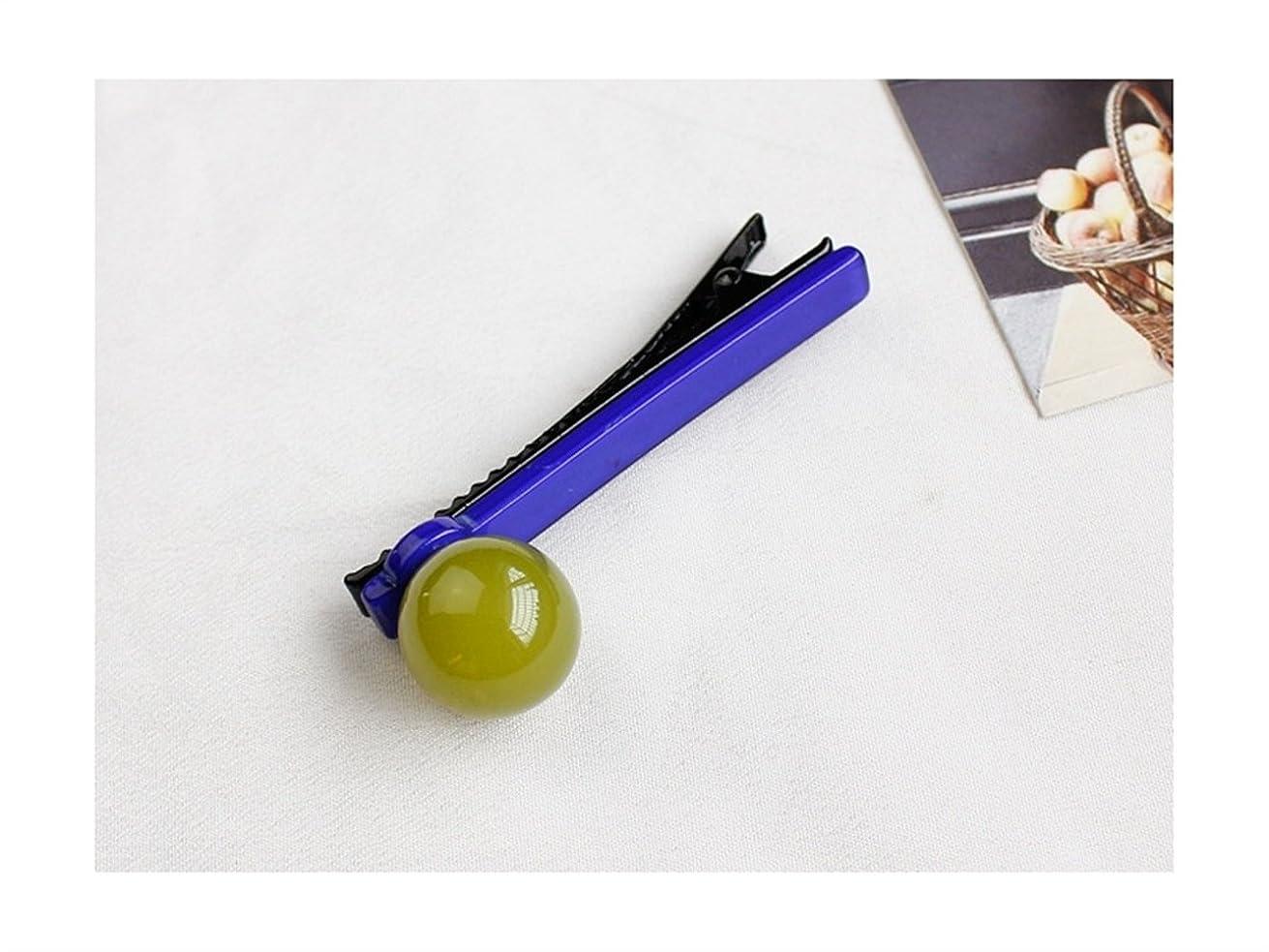 粉砕する埋めるええOsize 美しいスタイル ラウンドボールキャンディーカラーバングヘアピンダックビルクリップサイドクリップ(フルーツグリーン+ロイヤルブルー)