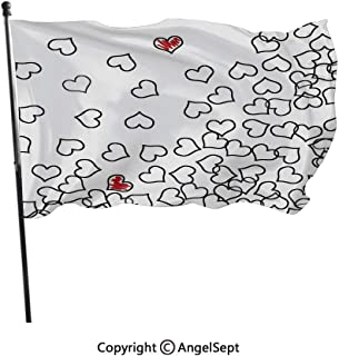 AngelSept Polyester Garden Flag House Banner,Heart Shapes Illustration Love You Bridal Wedding His and Hers Theme Black White Red,3x5 ft,Decoration Flag for Wedding Party Home