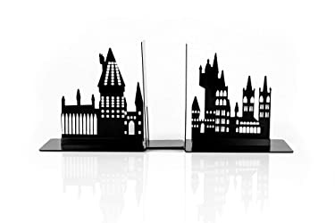 Harry Potter Hogwarts Castle Metal Bookends | Die Cut Metal Bookends With Hogwarts Castle Silhouette Glow In The Dark Design | Ideal For Harry Potter Book Collections & More