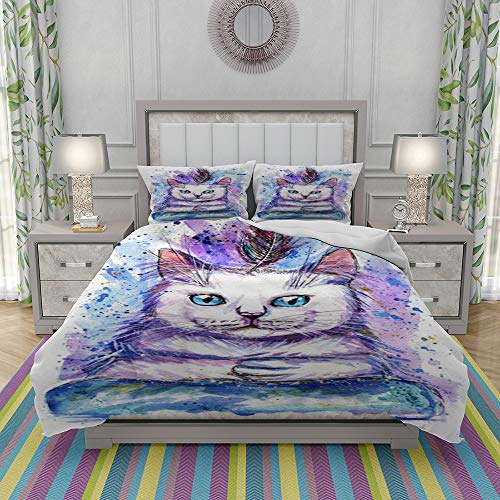 JOLIEAN Duvet Cover Set-Bedding,Hand Drawn Watercolor Illustration Portrait Of Cat With Feather,Quilt Cover Bedlinen-Microfibre 140x200cm with 2 Pillowcase 50x80cm