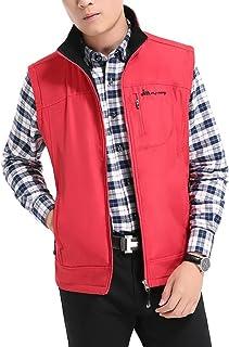 Vest Men's Jacket Warm vest Fashion Coat Outdoor (Color : Red, Size : XXXL)